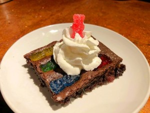 Sour Gummy Brownie on plate