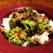 Easy Beef and Broccoli on rice in bowl