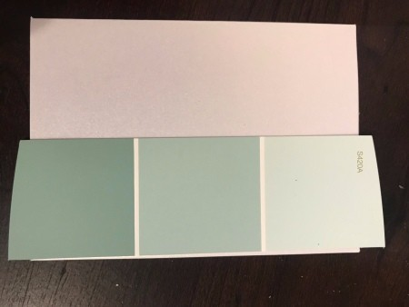 Simple Paint Chip Mother's Day Cards - trim samples to remove words and to fit the card
