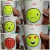 Making an Emoji Cup Toy - collage of 5 different emoji faces labeled: smile, wow, angry, sad, and love