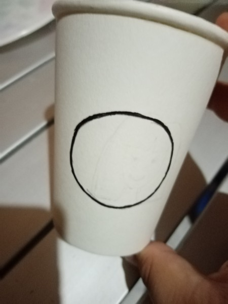 Making an Emoji Cup Toy - circle drawn on one of the cups
