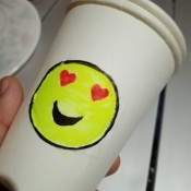 Making an Emoji Cup Toy - smiling face with hearts for eyes