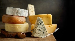 Several different kinds of cheese.