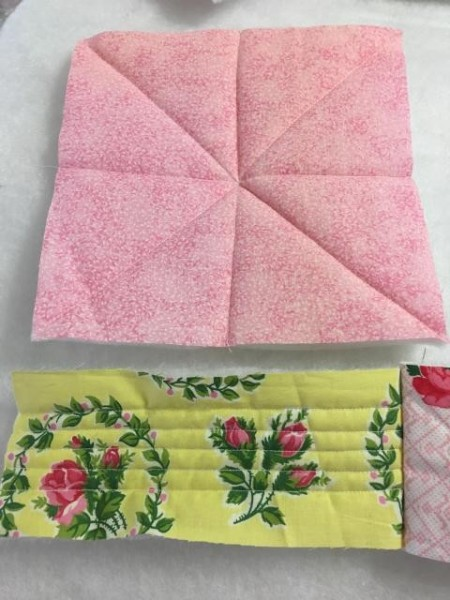 I Never Promised You a Rose Garden (Quilt) - batting stitched to squares and rectangles