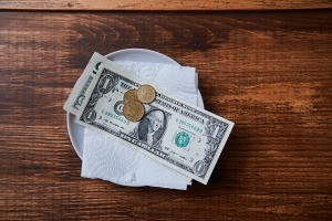 A gratuity left behind at a table.