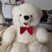 Does Anyone Recognize this Stuffed Bear? - white bear with red bow tie