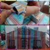 Home Shaped Money Bank - collage of finished bank and window and chimney steps