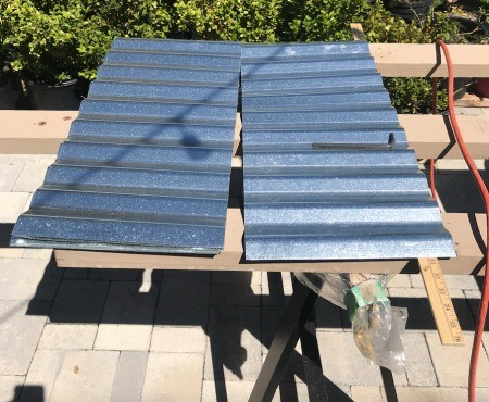 Galvanized Roofing Raised Bed - cut the galvanized panel to length