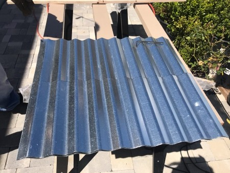 Galvanized Roofing Raised Bed - panel on saw horsed