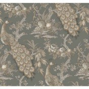 Discontinued Ronald Redding EK4222 Wallpaper - gray and tan peacock pattern