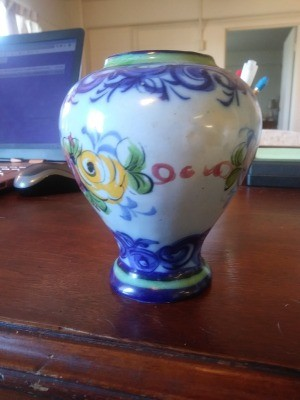 Value of Ceramic Vases - vase with blue pattern around top and bottom and floral band around the middle