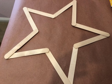 Minimal Star Craft Stick Wreath - sticks glued together