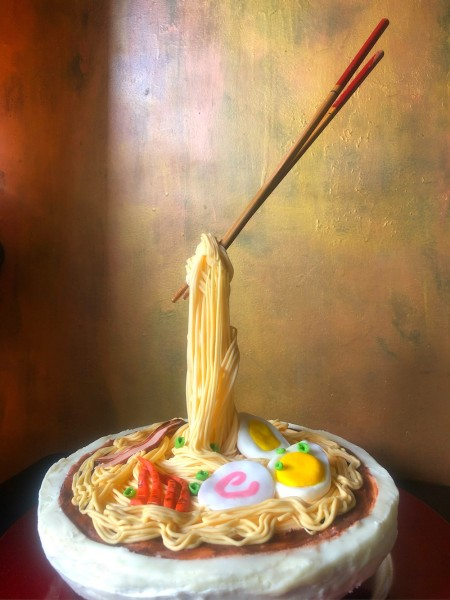 Gravity-Defying Ramen Cake - finished cake