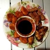 Fried Sardines & Sausage Platter with sauce