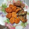 Fried Sardines & Sausage on plate