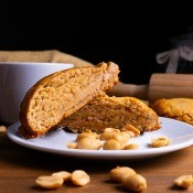 A slice of peanut butter bread on a plate.