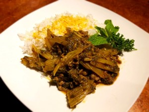 Celery and Herb Stew on plate with rice