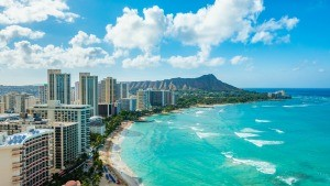 A view of Waikiki Beach, Oahu, Hawaii.