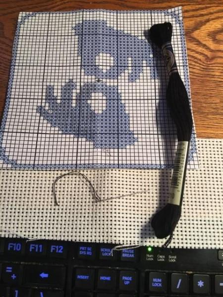 Personalized Cross Stitch Bookmark - cross stitch pattern, thread, needle and fabric