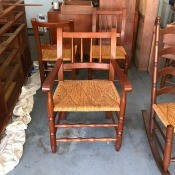 Value of Vintage Cherry Dining Chairs and Rocker - chairs and rocker in garage