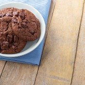 Chocolate cookies on a plate.