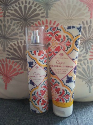 A perfume bottle and matching body lotion.