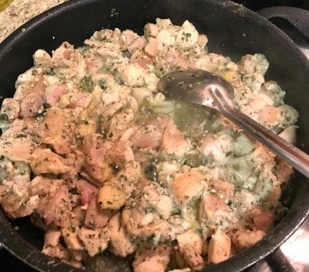 cooking chicken & veggies in pan