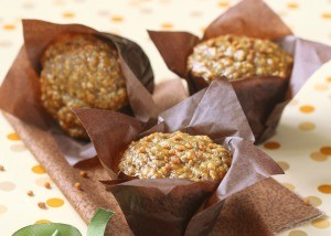 Vegan Banana Nut Muffins with paper liners.