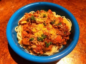 Creamy Sausage Spaghetti Bolognese in bowl