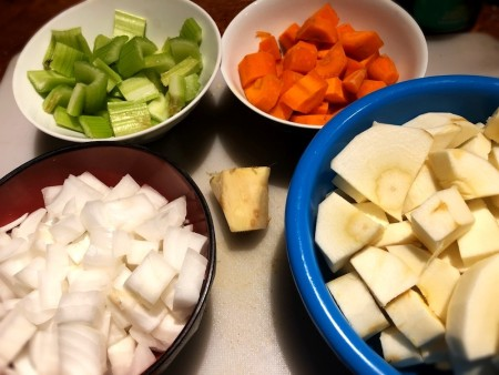 Chopped vegetables for Creamy Ginger Parsnip Soup.