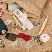 A collection of sewing machine parts.