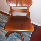 Age and Value of a Murphy Desk Chair - wooden armless desk chair with casters