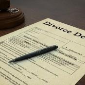 A divorce decree on a judge's desk.
