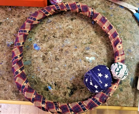 Americana Ball Wreath - wrapped wreath with two balls in place
