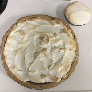 A finished orange meringue pie.