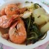 A bowl of hearty shrimp soup.