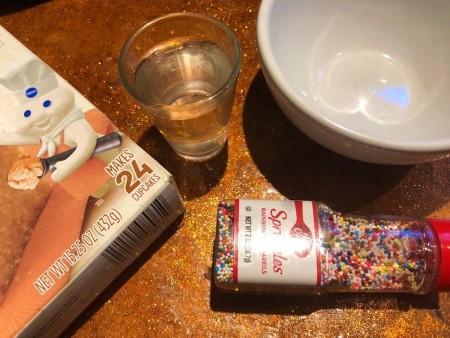 Ingredients for mug cake.