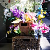 Double Decker Wicker Baskets Floral Display - display outside