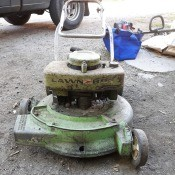 Age and Value of a Vintage Lawn Boy Mower? - old light green gas mower
