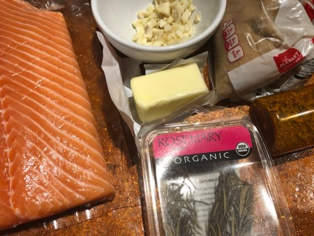 Ingredients for garlic butter salmon.