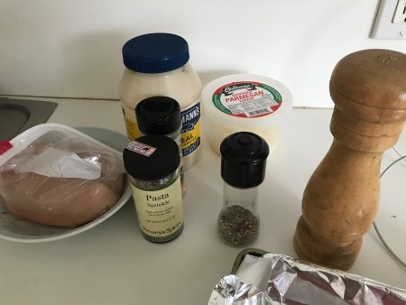 Ingredients for mayo-parmesan chicken.