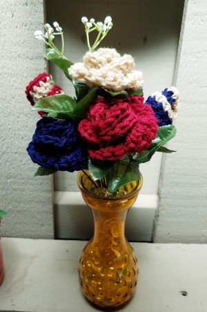 Crocheted Americana Roses - finished arrangement