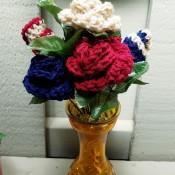 Crocheted Americana Roses - finished arrangement
