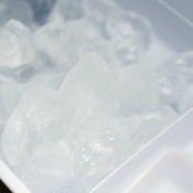 Ice in a refrigerator ice maker.
