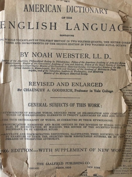 Value of a 1906 Edition Webster's Dictionary?