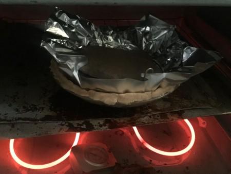 Baking the crust for an orange meringue pie.