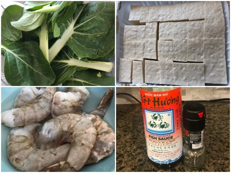 Ingredients for bok choy tofu shrimp soup.
