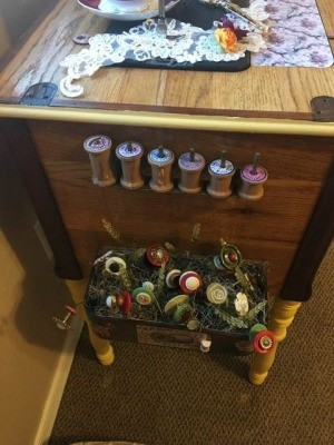 Decorated Singer Button Box and Spool Holder - side of sewing machine with spools and button garden attached