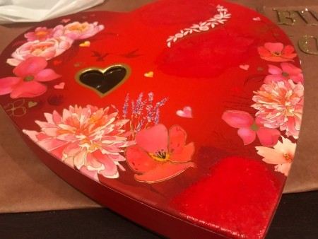 Upcycled Valentine's Candy Box Birthday Gift - after painting over the text