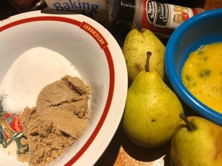Ingredients for Juicy Pear Cake.